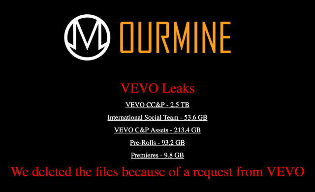 Screenshot of OurMine's Vevo hack page