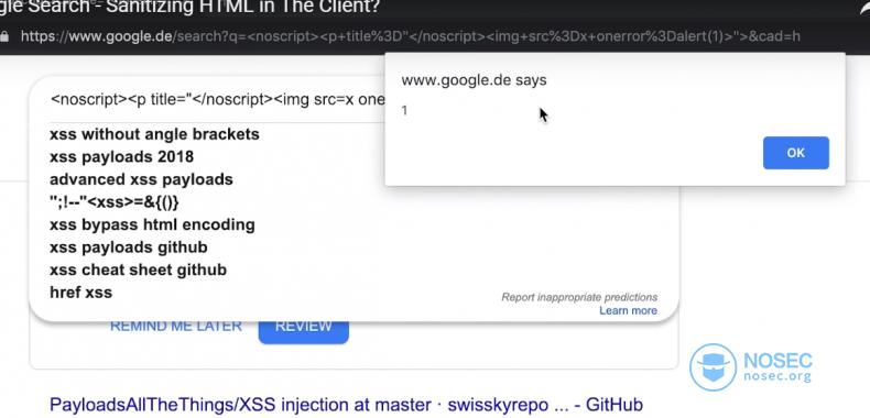 Google搜索的DOM型XSS漏洞|NOSEC安全讯息平台- 白帽汇安全研究院